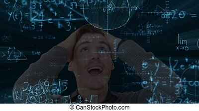 Animation of an excited Caucasian man with floating mathematics formulae on black background