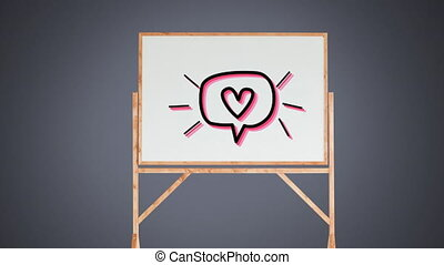 Animation of an icon a speech bubble with a heart flickering...