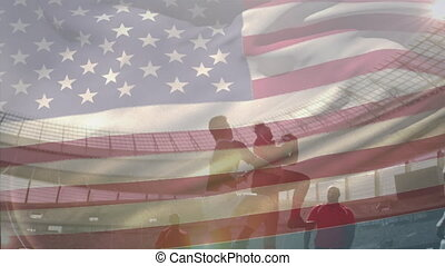 Animation of an U.S. flag waving over two multi-ethnic rugby teams playing rugby