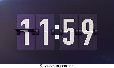 """Animation of Analog flip clocks retro designs"" - ""Animation..."