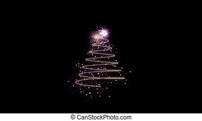 Animation of appearing colorful Christmas tree in motion on black background HD 1920x1080