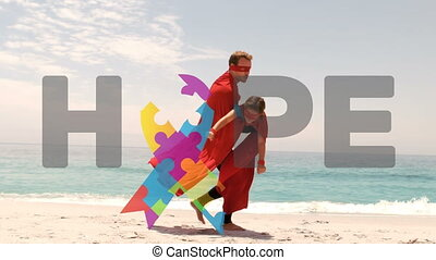 Animation of Autism Awareness Month symbol with word Hope ...