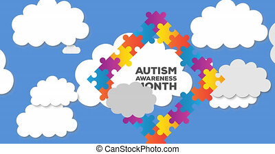 Animation of autism awareness month text in frame formed with puzzles over clouds on blue sky