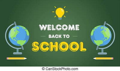 Animation of back to school on green background