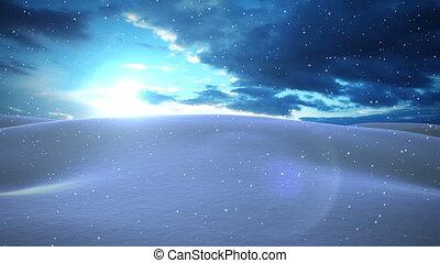 Animation of beautiful winter landscape