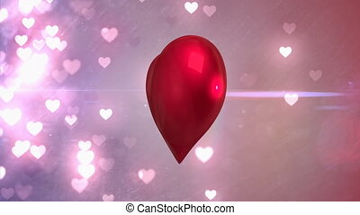 Animation of big red heart spinning with little pink heart flashing