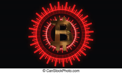 Animation of Bit Coin symbol Animation bitcoin.Compass...