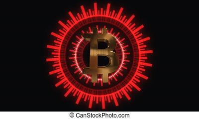 Animation of Bit Coin symbol Animation bitcoin.Compass...