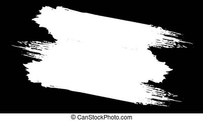 Animation of black and white abstract paint brush stroke, drawing a frame background. Paint brush stroke frame drawing.