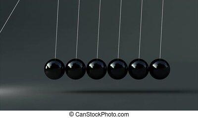 Animation of black newton's cradle 3d animation