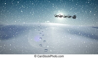 Animation of black silhouette of santa claus in sleigh being pulled by reindeer with snow falling and footsteps in snow. christmas festivity celebration concept digitally generated image.