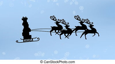 Animation of black silhouette of stack of presents on sleigh being pulled by reindeer with snow falling on blue background. christmas festivity celebration concept digitally generated image.
