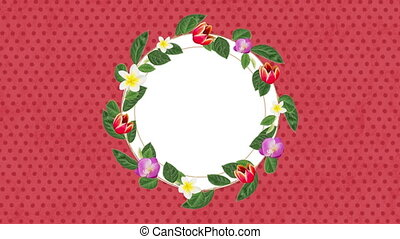 Animation of blank round card decorated with colourful ...