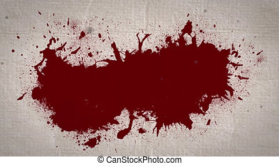 Animation of blood stain on beige background. horror, fright, halloween tradition and celebration concept digitally generated video.