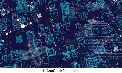 Animation of blue city in 3D with molecules and data ...