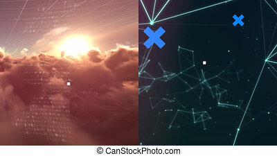 Animation of blue crosses over data processing on sky, network of connections, and brain on black