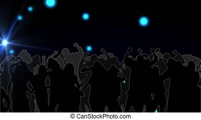 Animation of blue glowing spot lights moving around with silhouettes of crowd of people