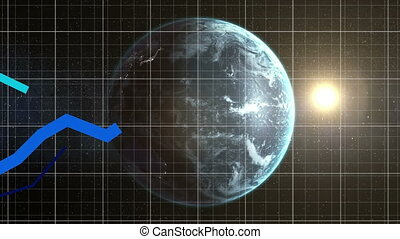 Animation of blue graph forming over a grid ang globe spining