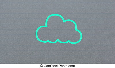 Animation of blue outline cloud icon hand drawn with a marker on grey background
