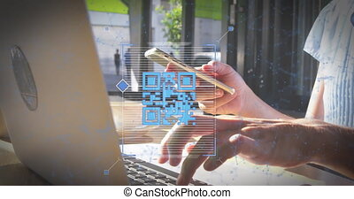 Animation of a blue QR code scanning with a blue web of connections over  Caucasian woman using a laptop and a smartphone. Digital composite video