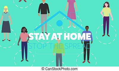 Animation of blue roof with social distancing message with ...