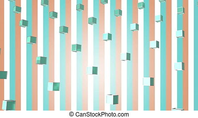 Animation of blue squares in colored background