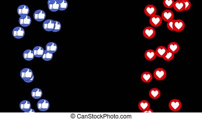 Animation of blue thumbs up and red hearts rising up. -...