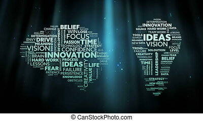 Animation of brain and lightbulb icons filled with words creativity, ideas, initiative, courage written in white and green letters over glowing green background. Global networking growth and brainstorming concept digitally generated image.