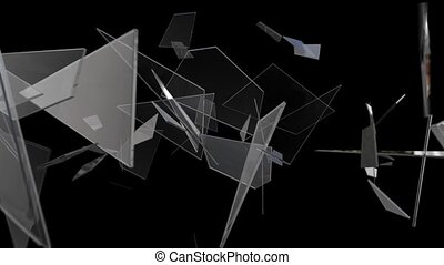Animation of broken glass fragments on a black background