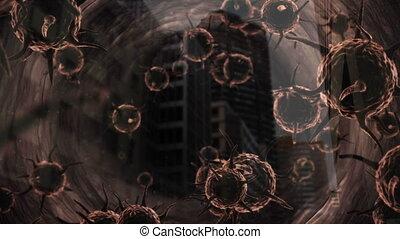 Animation of brown corona virus floating - Animation of ...