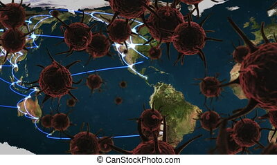 Animation of brown corona virus with world map in background