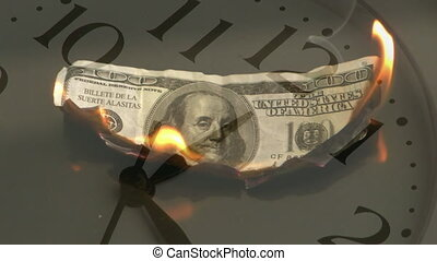 Animation of burning American dollar banknote with clock moving fast in the background.