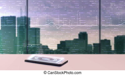 Animation of business data projecting from a mobile device....
