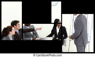 Animation of business people at a presentation in a company...