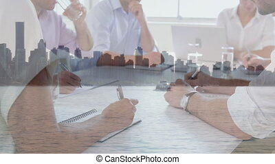 Animation of business people at meeting over cityscape