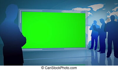 Animation of business people silhouettes with a green screen...