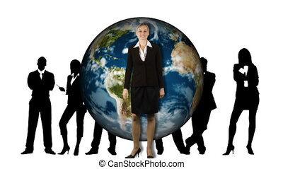 Animation of business people standing in front of the Earth