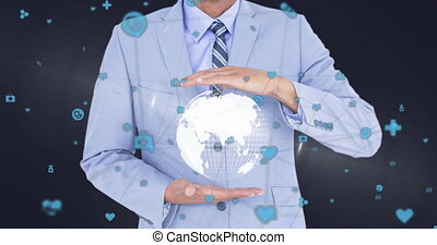 Animation of businessman holding globe with network of connections