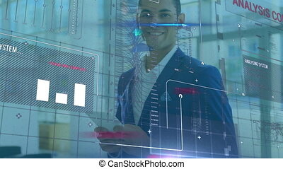 Animation of businessman using a digital tablet in an office with financial data processing