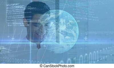 Animation of businessman using a smartphone with financial globe, data processing