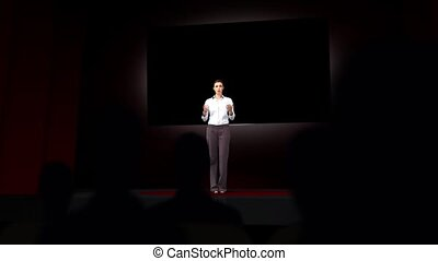 Animation of businesswoman present