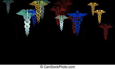 animation of caduceus, the symbol of medicine
