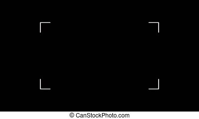 Animation of camera viewfinder with white square frame and flash light on black background