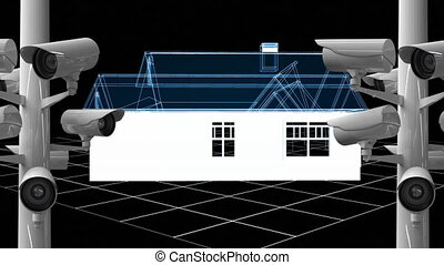 Animation of cameras recording over 3d blue house model spinning in the background.
