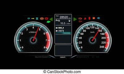 Animation of car dashboard speed rpm meter and automobile icon for transport concept