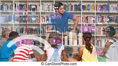 Animation of Caucasian male teacher and group of schoolchildren learning at school with clouds and numbers, data processing. Education learning concept digital composite.