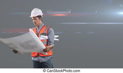 Animation of Caucasian male worker wearing an orange high vest and a hat, holding plans over rays