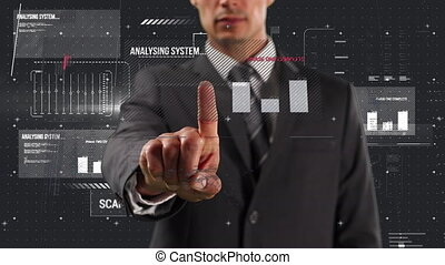 Animation of Caucasian man in suit touching a screen with statistics and words written in red capita