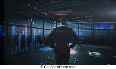 Animation of Caucasian man in suit watching a screen with statistics