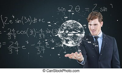 Animation of a Caucasian man presenting a 3D globe model with network with mathematics formulae icons floating in the foreground. Global economy and technology concept digital composite.